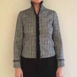 NWT MaxMara Black and Cream Tweed Blazer, Size 14